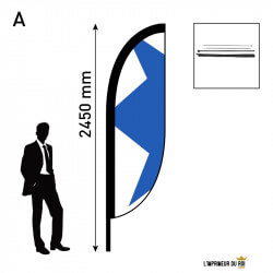Beach flag 2.45m (S) convex...