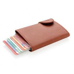 Porte-cartes portefeuille anti-RFID C-Secure - Marron et argent