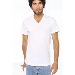 Fashion V neck Tee-shirt Men Boys Short Sleeves