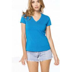 Tee-shirt col V manches courtes femme -