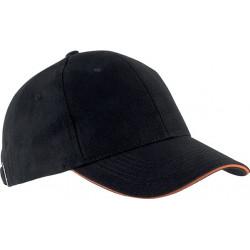 Casquette 6 pans - Noir et orange