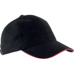 Casquette 6 pans - Noir et rouge