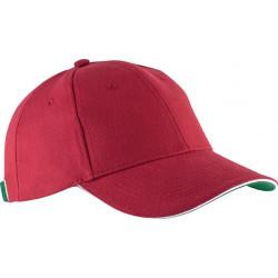 Casquette 6 pans - Rouge, blanc et vert