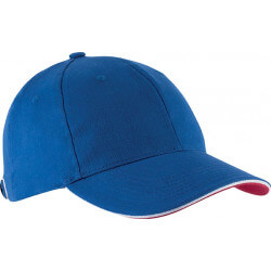 Casquette 6 pans - Bleu roi, blanc et rouge