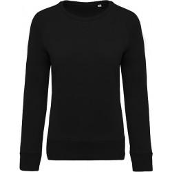Sweat-shirt bio col rond manches raglan femme - Noir