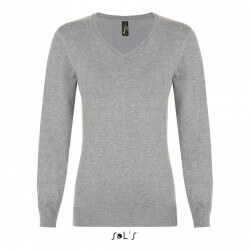 Pull femme col V Glory - Gris chiné 350